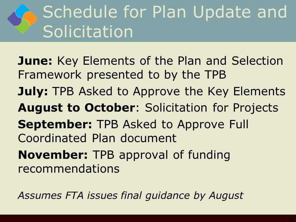 Schedule for Plan Update and Solicitation June: Key Elements of the Plan and Selection Framework presented to by the TPB July: TPB Asked to Approve the Key Elements August to October: Solicitation for Projects September: TPB Asked to Approve Full Coordinated Plan document November: TPB approval of funding recommendations Assumes FTA issues final guidance by August 6