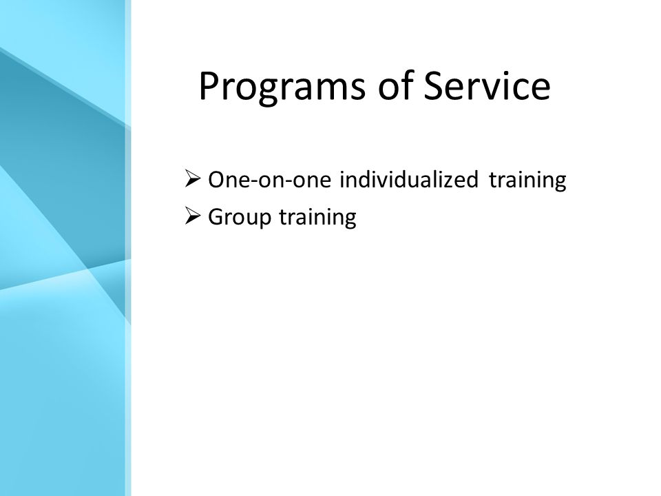 Programs of Service  One-on-one individualized training  Group training