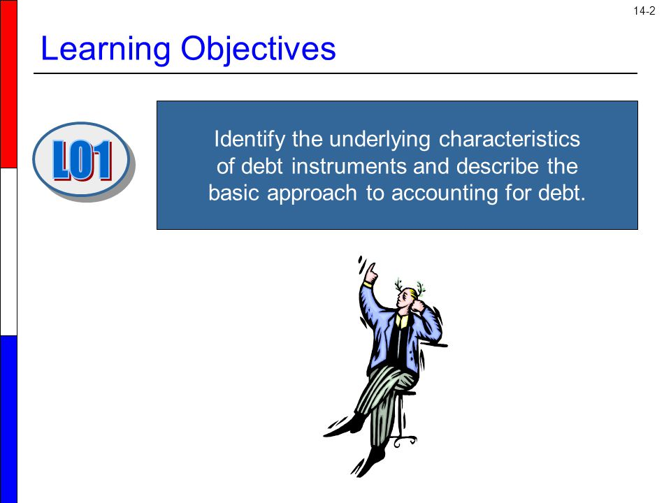 14-2 Learning Objectives Identify the underlying characteristics of debt instruments and describe the basic approach to accounting for debt.