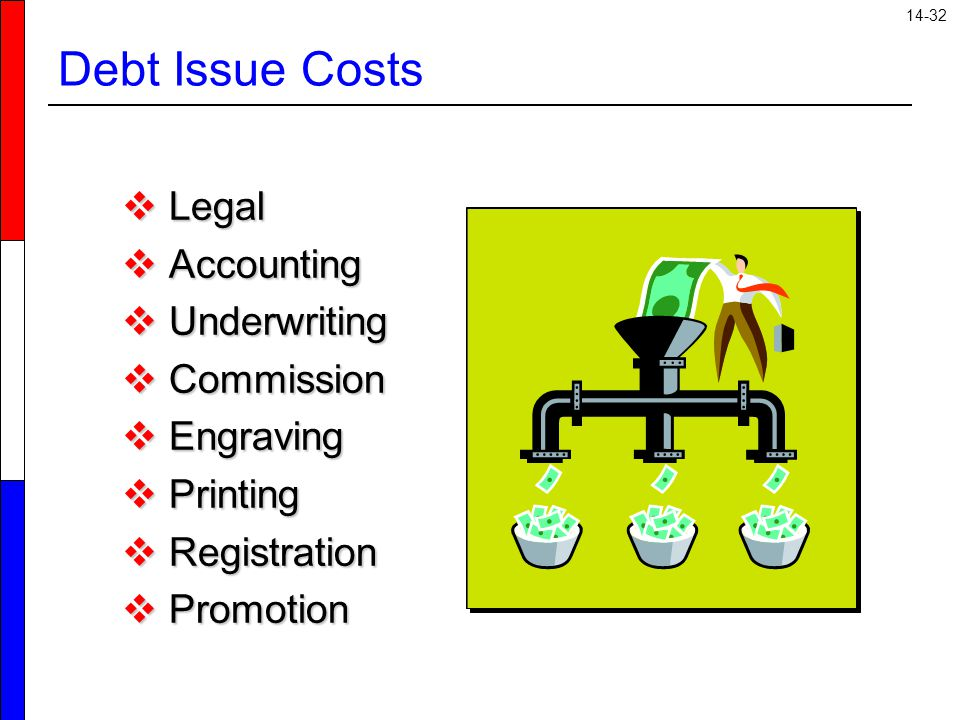 14-32 Debt Issue Costs  Legal  Accounting  Underwriting  Commission  Engraving  Printing  Registration  Promotion