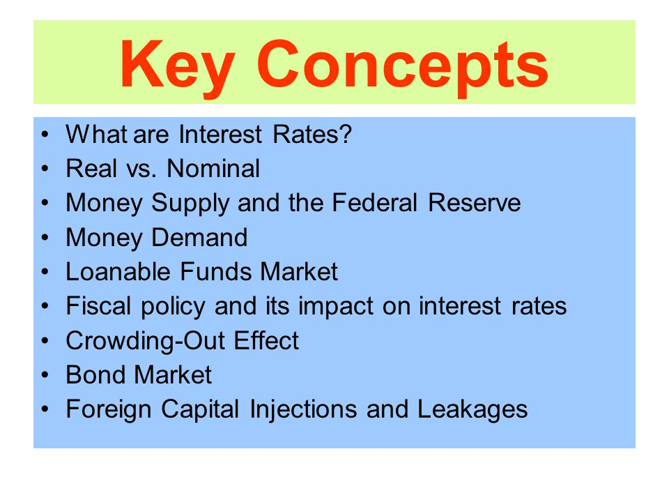 Key Concepts What are Interest Rates. Real vs.