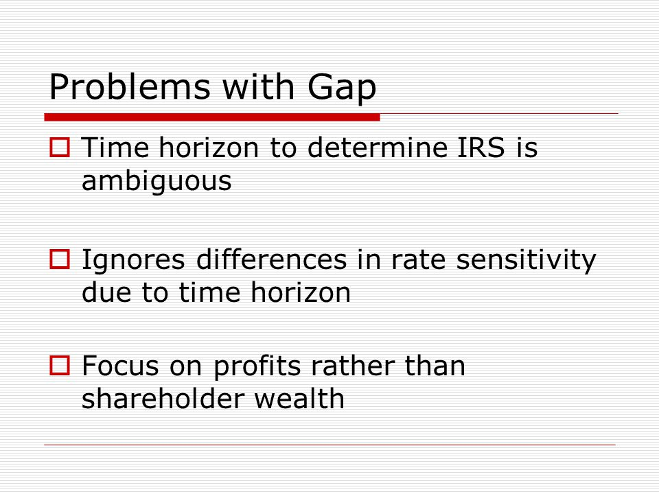 Problems with Gap  Time horizon to determine IRS is ambiguous  Ignores differences in rate sensitivity due to time horizon  Focus on profits rather than shareholder wealth