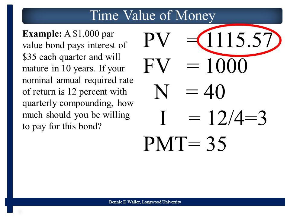 Bennie D Waller, Longwood University Time Value of Money PV = FV = 1000 N = 40 I = 12/4=3 PMT= 35 Example: A $1,000 par value bond pays interest of $35 each quarter and will mature in 10 years.