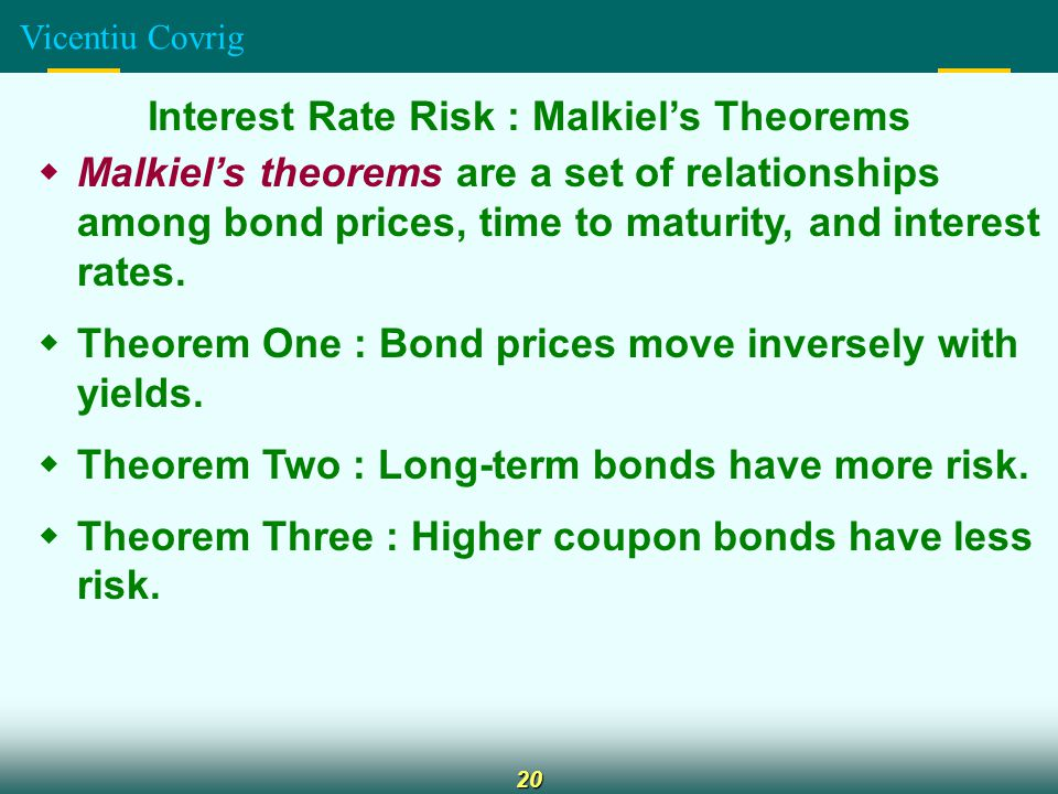 Vicentiu Covrig 20 Interest Rate Risk : Malkiel's Theorems  Malkiel's theorems are a set of relationships among bond prices, time to maturity, and interest rates.