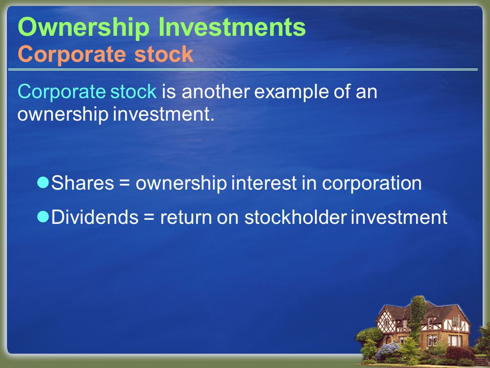 Ownership Investments Corporate stock is another example of an ownership investment.