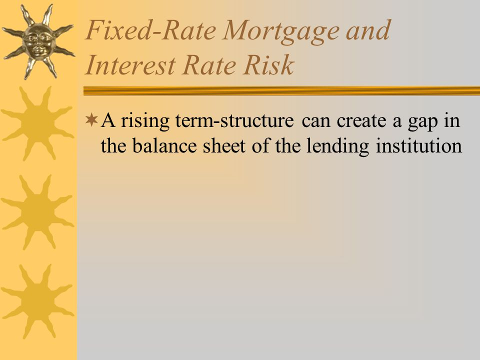 Fixed-Rate Mortgage and Interest Rate Risk  A rising term-structure can create a gap in the balance sheet of the lending institution