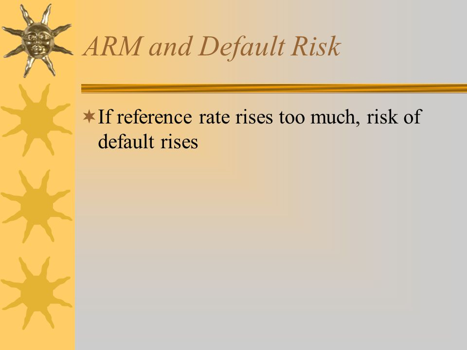 ARM and Default Risk  If reference rate rises too much, risk of default rises