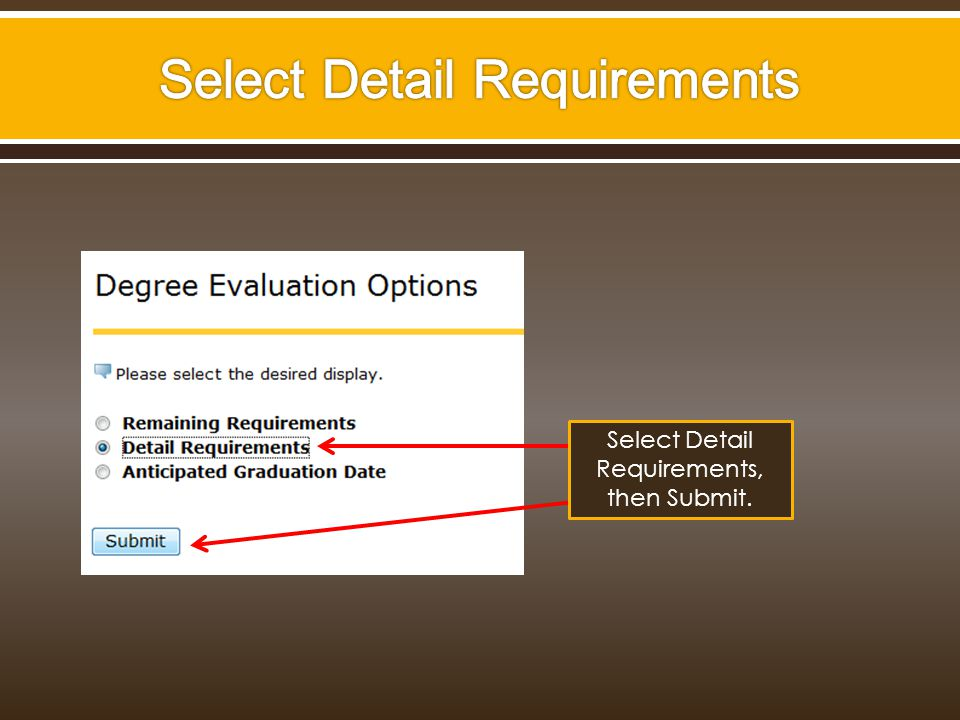 Select Detail Requirements, then Submit.