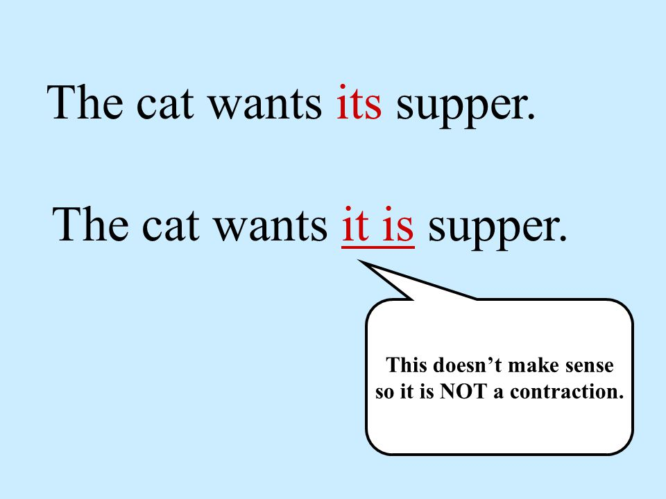 The cat wants its supper. The cat wants it is supper.