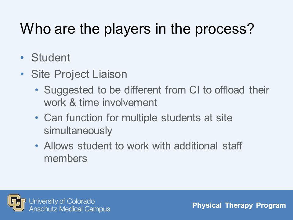 Physical Therapy Program Student Projects For The Clinic Ppt Download
