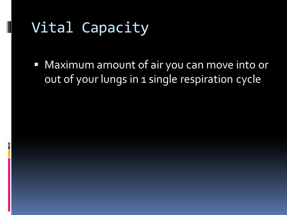 Vital Capacity  Maximum amount of air you can move into or out of your lungs in 1 single respiration cycle