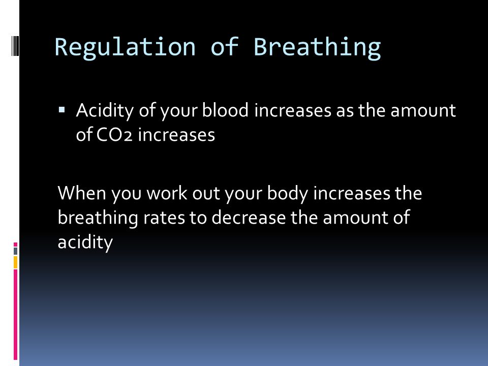 Regulation of Breathing  Acidity of your blood increases as the amount of CO2 increases When you work out your body increases the breathing rates to decrease the amount of acidity