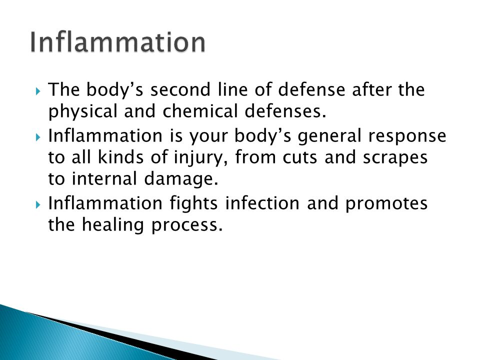  The body's second line of defense after the physical and chemical defenses.