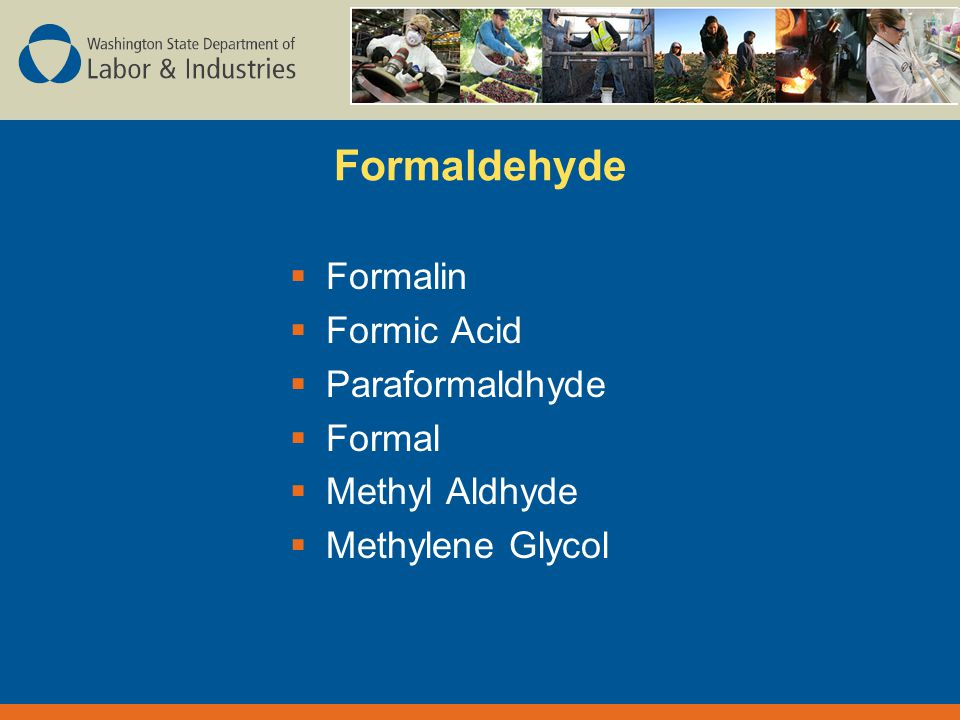 Formaldehyde  Formalin  Formic Acid  Paraformaldhyde  Formal  Methyl Aldhyde  Methylene Glycol