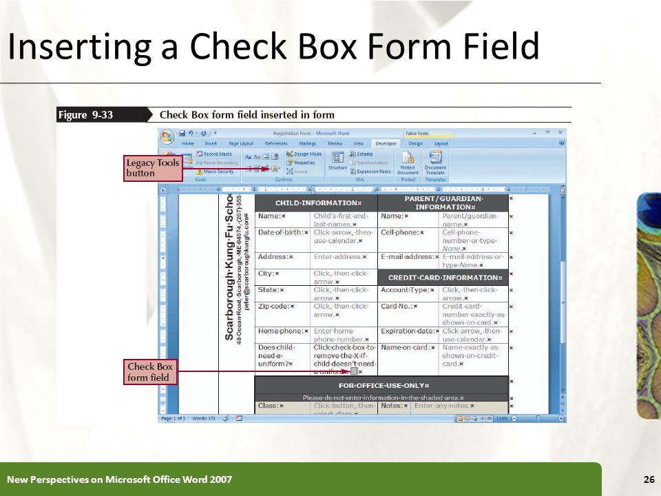 XP Inserting a Check Box Form Field New Perspectives on Microsoft Office Word