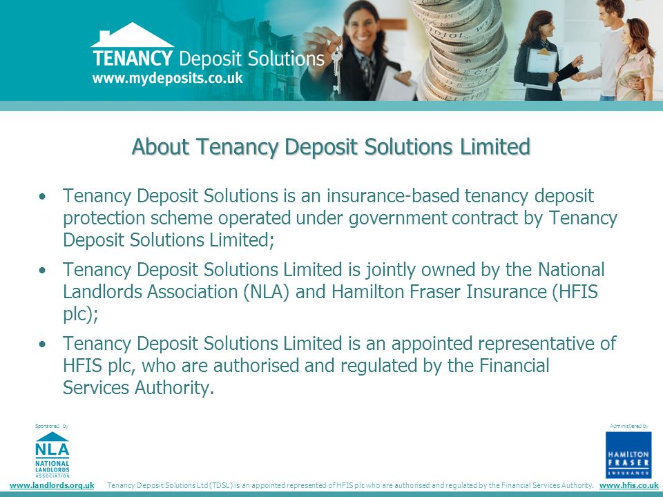 Tenancy Deposit Solutions Sponsored By Administered By Administered