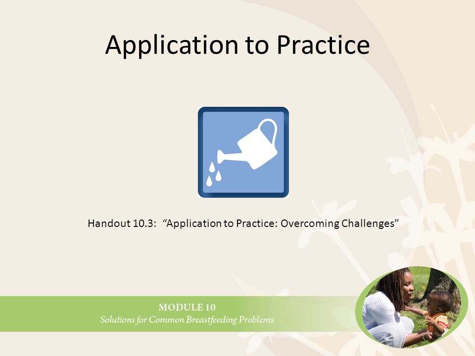 Application to Practice Handout 10.3: Application to Practice: Overcoming Challenges