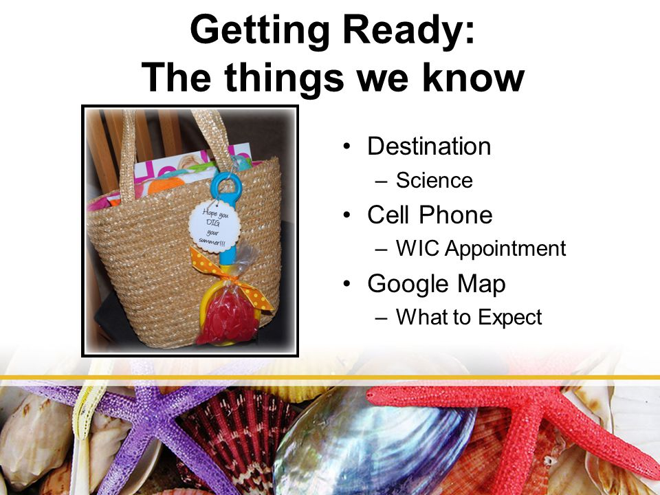 Getting Ready: The things we know Destination –Science Cell Phone –WIC Appointment Google Map –What to Expect