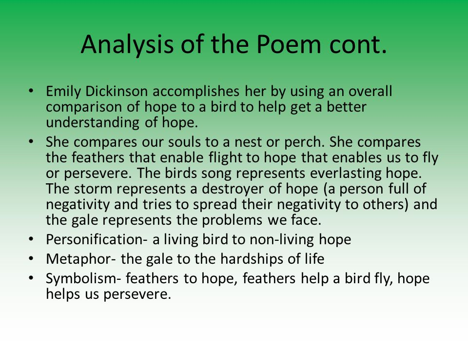 Dickinson Project Block  Emily Dickinson Poem Analysis Ernie Chapin  Analysis Of The Poem In The Poem Hope Is The Thing With Feathers Emily  Dickinson