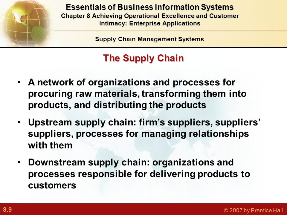 8.9 © 2007 by Prentice Hall Essentials of Business Information Systems Chapter 8 Achieving Operational Excellence and Customer Intimacy: Enterprise Applications The Supply Chain A network of organizations and processes for procuring raw materials, transforming them into products, and distributing the products Upstream supply chain: firm's suppliers, suppliers' suppliers, processes for managing relationships with them Downstream supply chain: organizations and processes responsible for delivering products to customers Supply Chain Management Systems