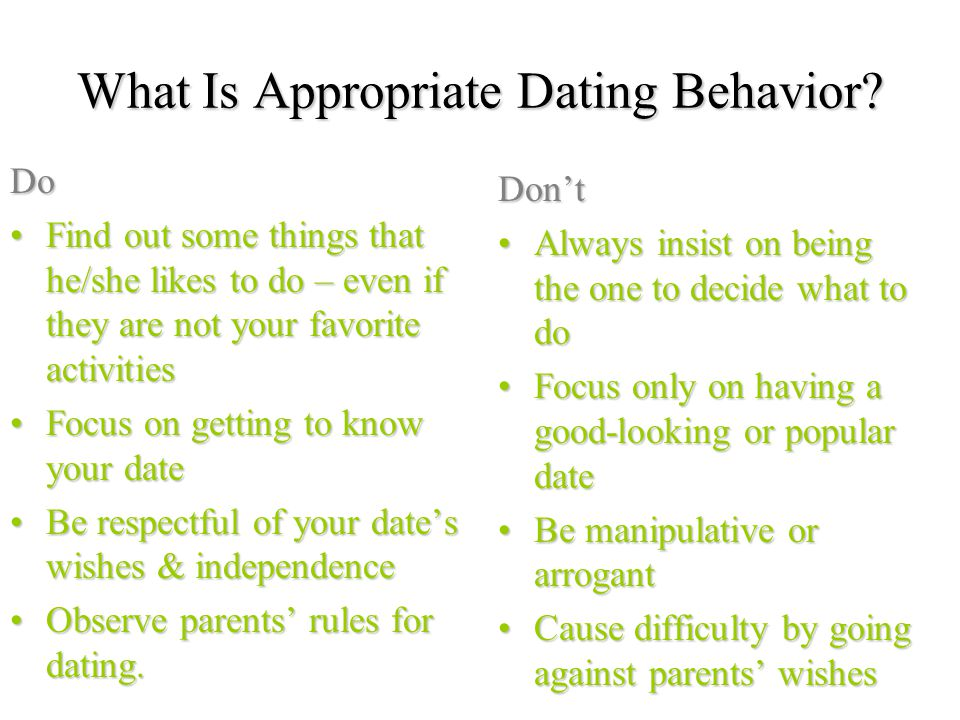 Parents rules for teenage dating