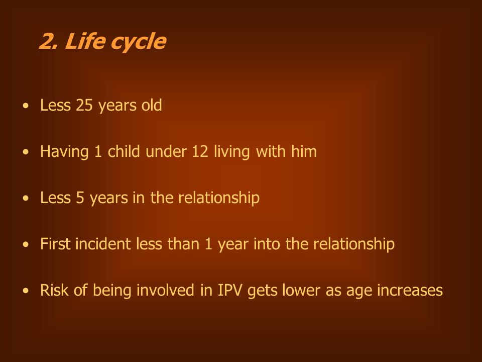 Less 25 years old Having 1 child under 12 living with him Less 5 years in the relationship First incident less than 1 year into the relationship Risk of being involved in IPV gets lower as age increases 2.
