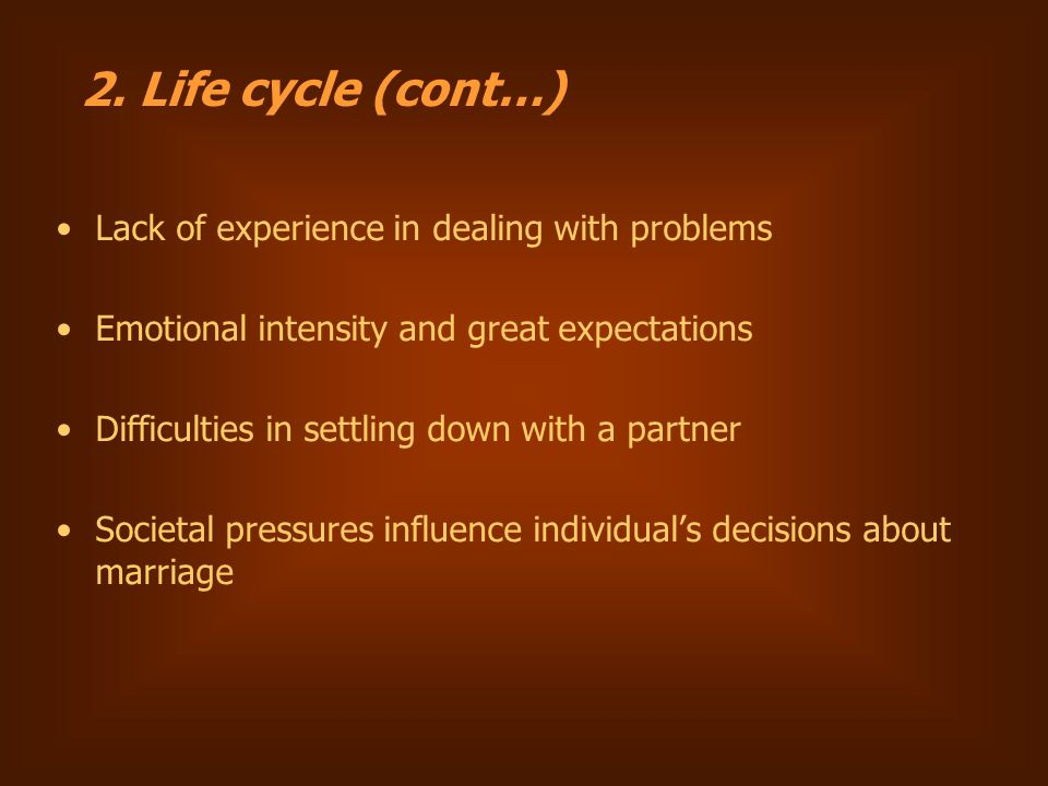 Lack of experience in dealing with problems Emotional intensity and great expectations Difficulties in settling down with a partner Societal pressures influence individual's decisions about marriage 2.