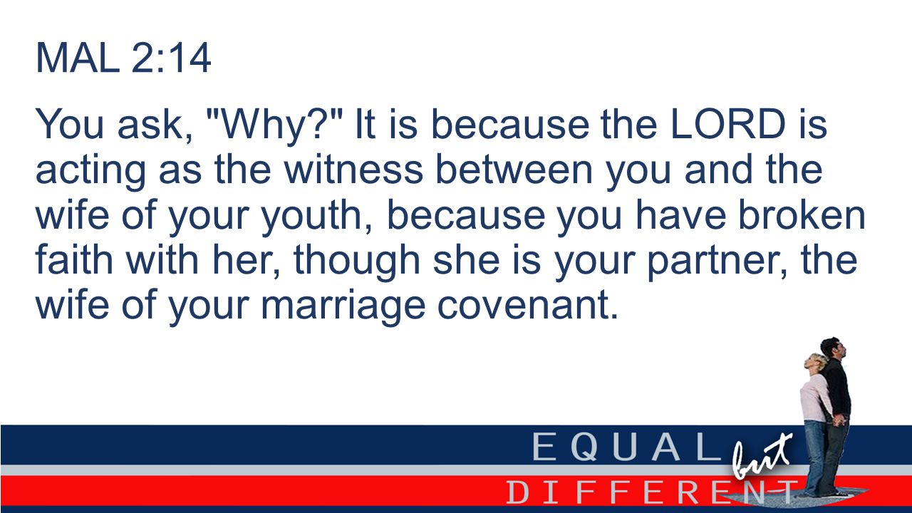 MAL 2:14 You ask, Why It is because the LORD is acting as the witness between you and the wife of your youth, because you have broken faith with her, though she is your partner, the wife of your marriage covenant.