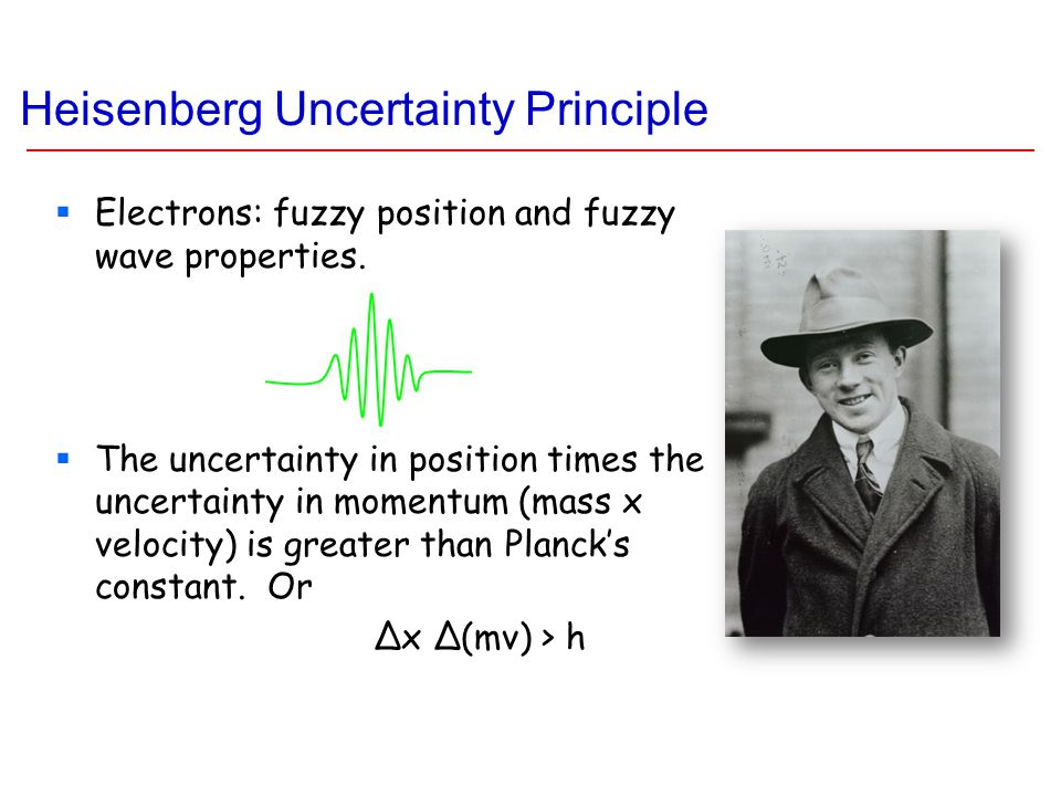 Heisenberg Uncertainty Principle  Electrons: fuzzy position and fuzzy wave properties.