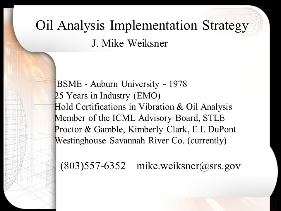 Oil Analysis Implementation Strategy J.