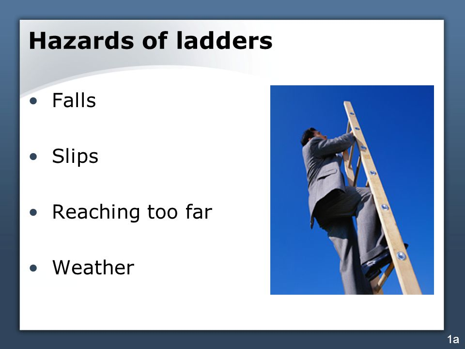 Hazards of ladders Falls Slips Reaching too far Weather 1a