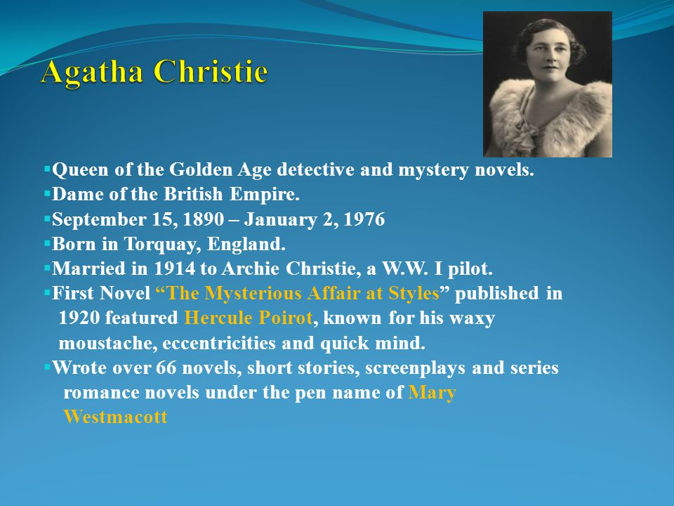  Queen of the Golden Age detective and mystery novels.
