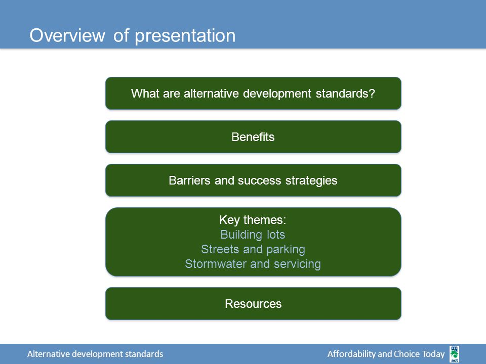 Affordability and Choice Today Alternative development standards Overview of presentation What are alternative development standards.