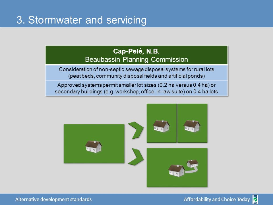 Affordability and Choice Today Alternative development standards 3. Stormwater and servicing