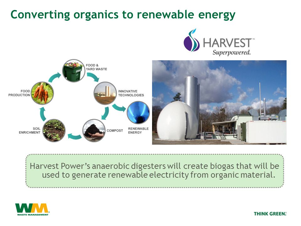 Harvest Power's anaerobic digesters will create biogas that will be used to generate renewable electricity from organic material.