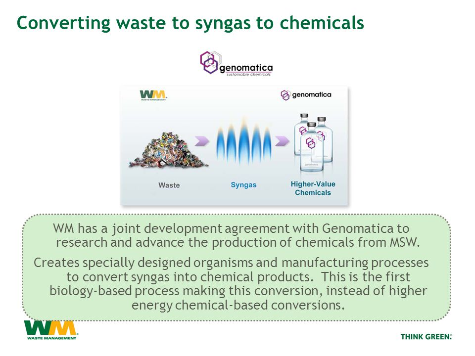 WM has a joint development agreement with Genomatica to research and advance the production of chemicals from MSW.