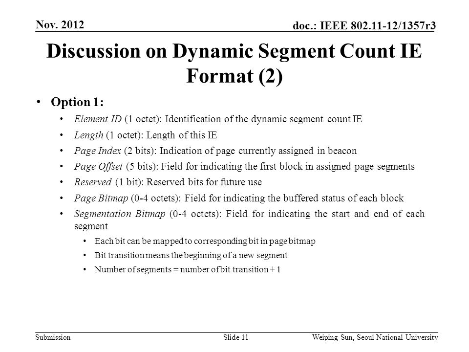Submission doc.: IEEE /1357r3 Discussion on Dynamic Segment Count IE Format (2) Slide 11 Nov.
