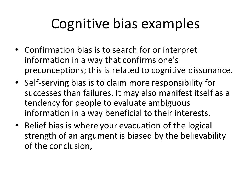 Some Human Relate Biases Subject Observer Bias Cognitive Bias Ppt
