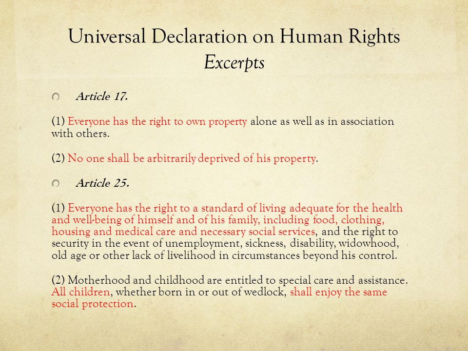 Universal Declaration on Human Rights Excerpts Article 17.