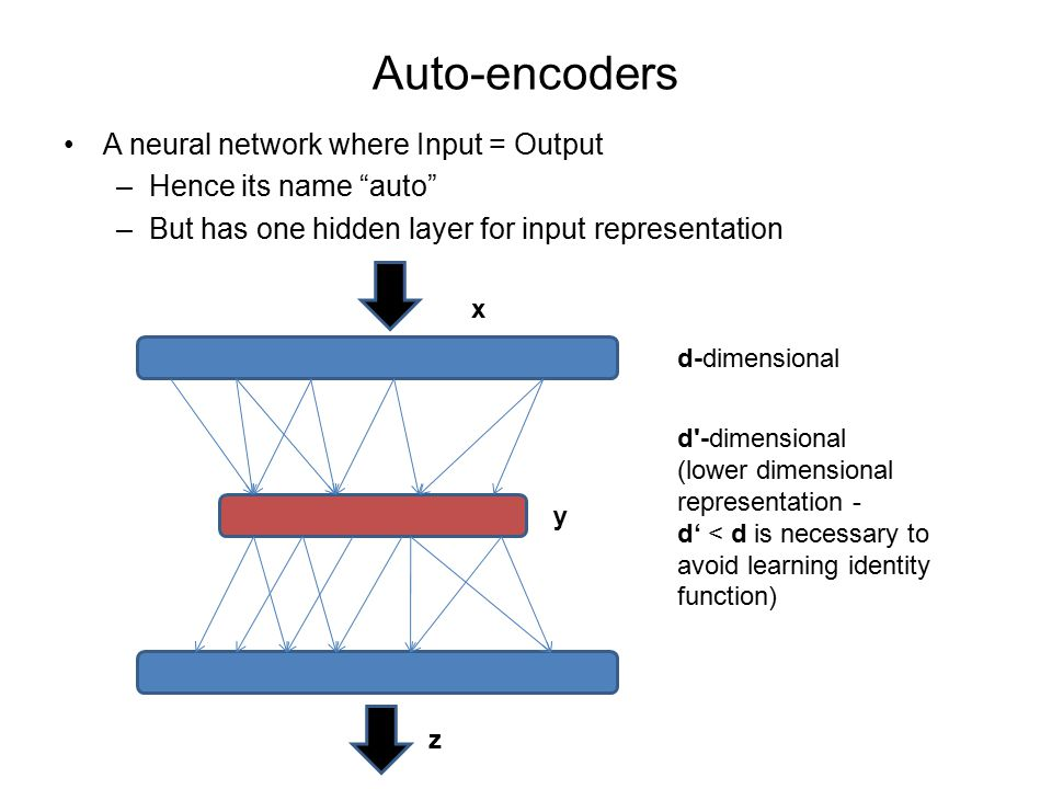 Auto-encoders A neural network where Input = Output –Hence its name auto –But has one hidden layer for input representation y z d-dimensional d -dimensional (lower dimensional representation - d' < d is necessary to avoid learning identity function) x