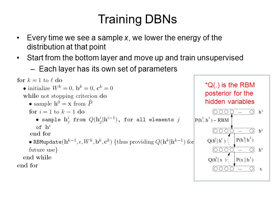 Training DBNs Every time we see a sample x, we lower the energy of the distribution at that point Start from the bottom layer and move up and train unsupervised –Each layer has its own set of parameters *Q(.) is the RBM posterior for the hidden variables