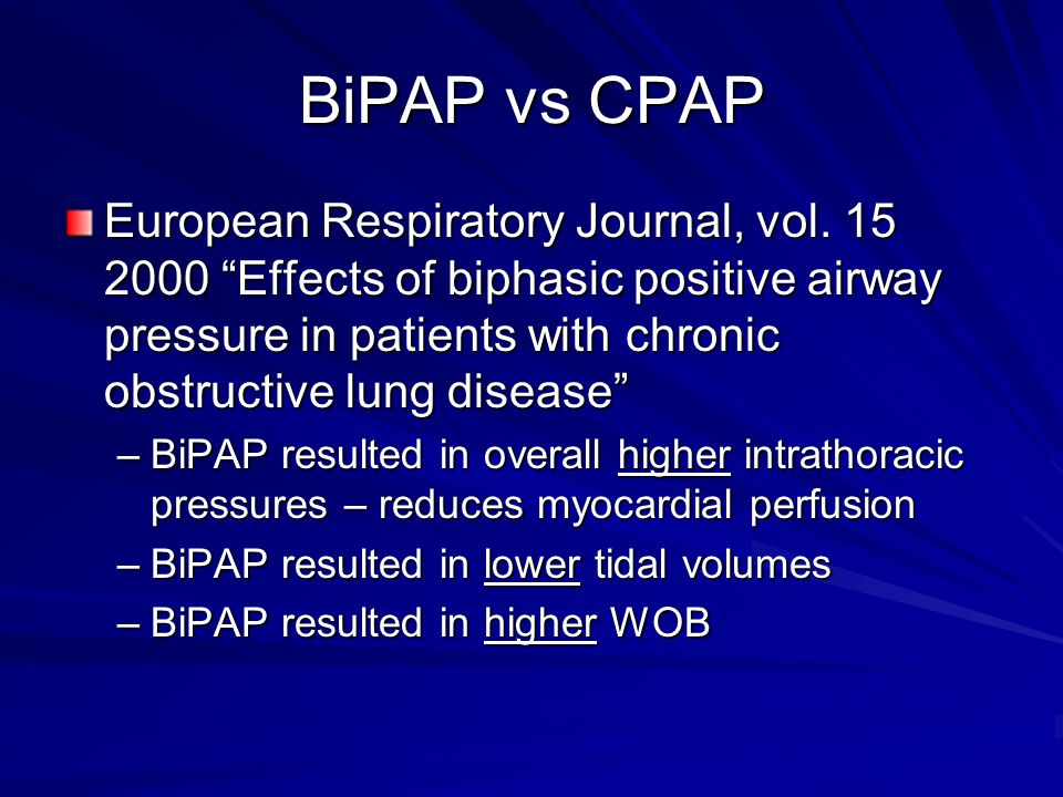 BiPAP vs CPAP European Respiratory Journal, vol.