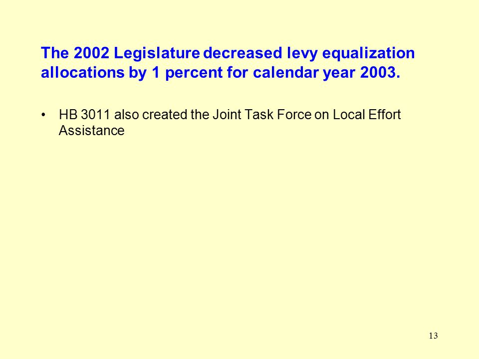 13 The 2002 Legislature decreased levy equalization allocations by 1 percent for calendar year 2003.