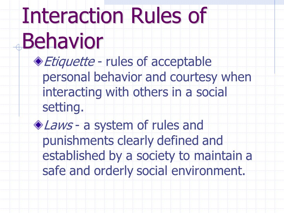 Interaction Rules of Behavior Etiquette - rules of acceptable personal behavior and courtesy when interacting with others in a social setting.