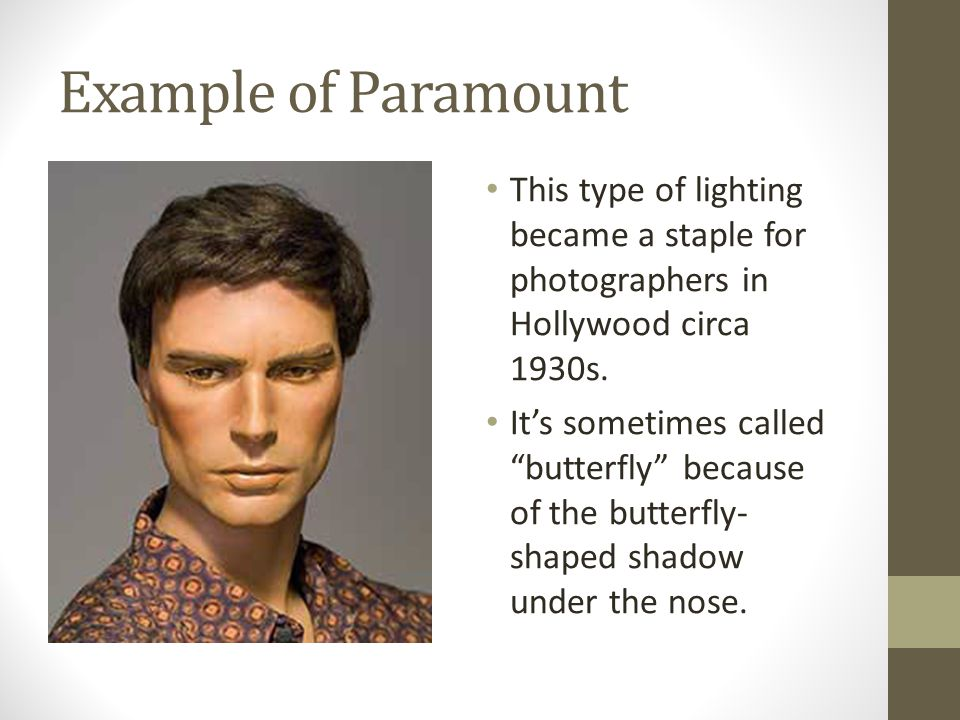 Ex&le of Paramount This type of lighting became a staple for photographers in Hollywood circa 1930s  sc 1 st  SlidePlayer & Paramount u0026 Rembrandt Lighting Photography u2013 Lighting Communication ...