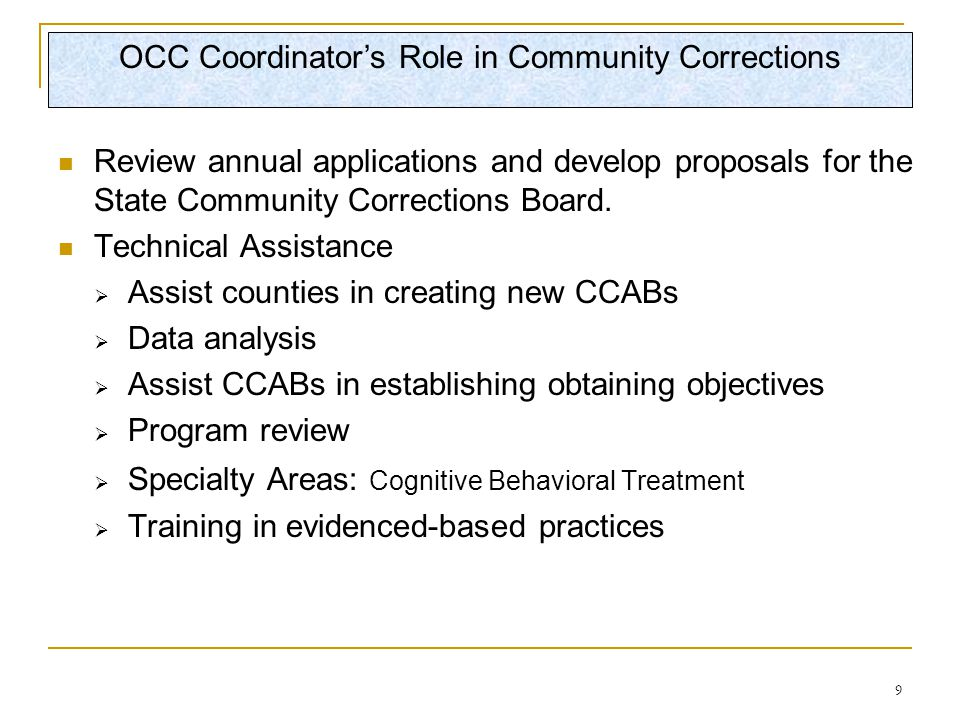 9 Review annual applications and develop proposals for the State Community Corrections Board.