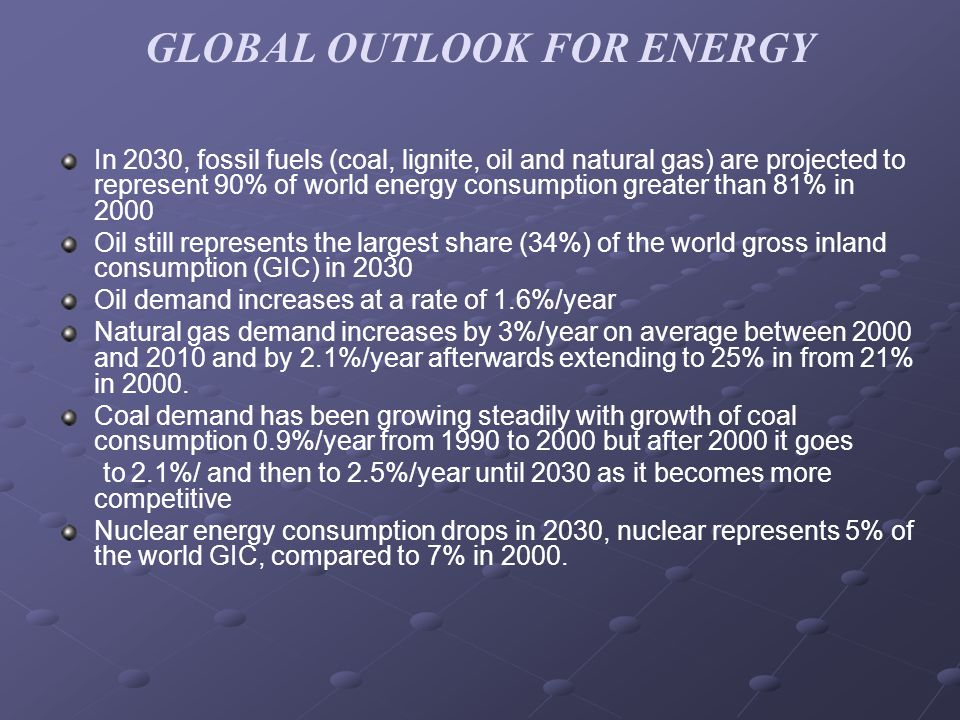GLOBAL OUTLOOK FOR ENERGY In 2030, fossil fuels (coal, lignite, oil and natural gas) are projected to represent 90% of world energy consumption greater than 81% in 2000 Oil still represents the largest share (34%) of the world gross inland consumption (GIC) in 2030 Oil demand increases at a rate of 1.6%/year Natural gas demand increases by 3%/year on average between 2000 and 2010 and by 2.1%/year afterwards extending to 25% in from 21% in 2000.