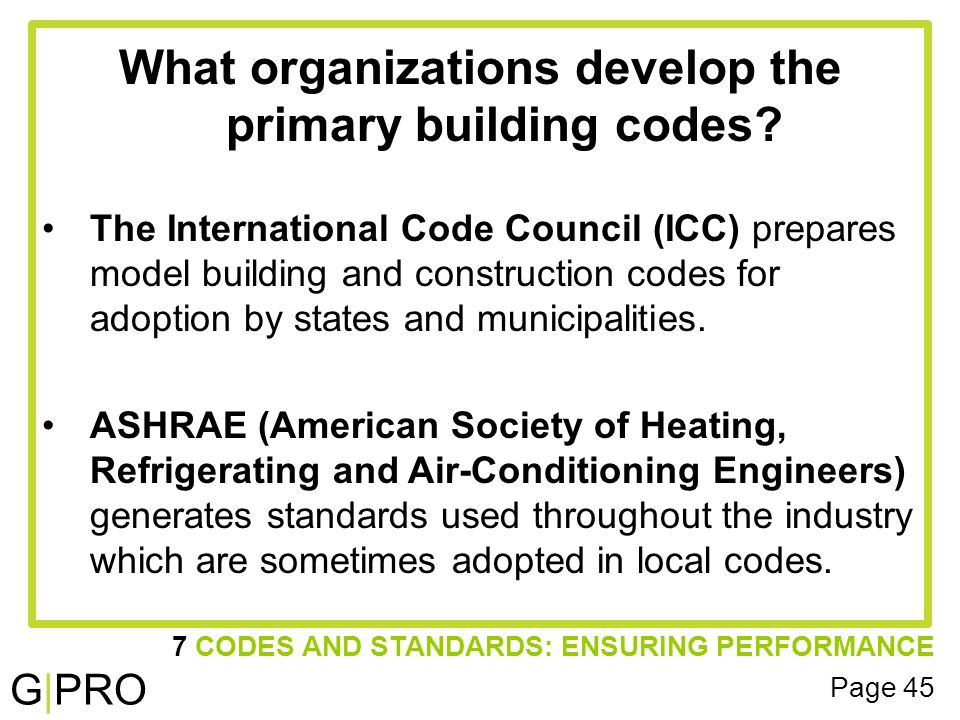 G|PRO 7 CODES AND STANDARDS: ENSURING PERFORMANCE Page 45 What organizations develop the primary building codes.