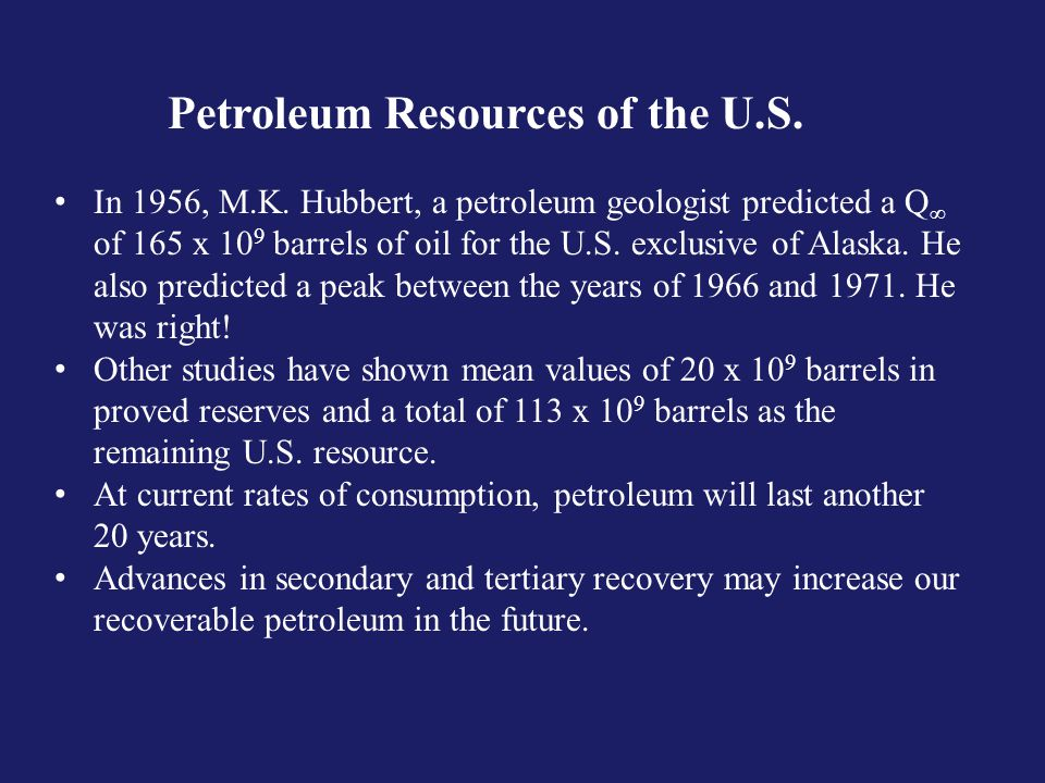 Petroleum Resources of the U.S. In 1956, M.K.
