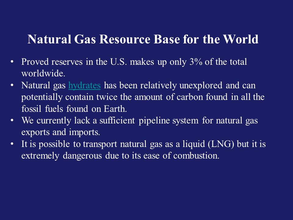 Natural Gas Resource Base for the World Proved reserves in the U.S.